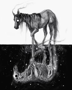 'Black Omen' / watercolor on board, ✖️ limited giclèe prints restocked in my shop , original sold! Creepy Drawings, Dark Art Drawings, Cool Drawings, Kelpie Horse, Arte Obscura, Drawn Art, Desenho Tattoo, Unicorn Art, Arte Horror