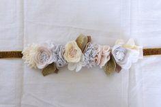 Festive Wool Felt Flower Crown // White  Gold by fancyfreefinery