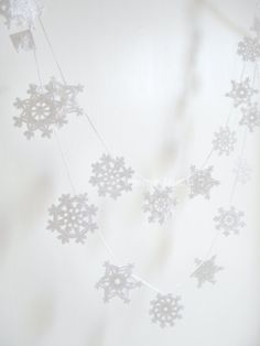 Crochet snowflake garland.