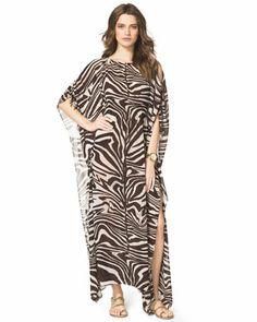MICHAEL Michael Kors  Zebra-Print Smocked Caftan.