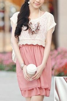 Crochet Lace Jumper with Chiffon Dress Suit