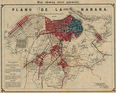 Mapa Mostrando Pavimento de Calles de la Ciudad de La Havana, Cuba 1899