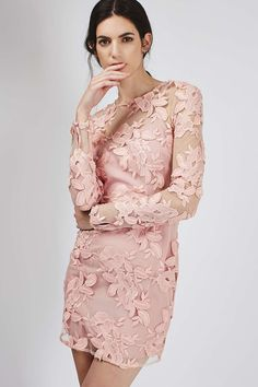 Long Sleeve Applique Mini Dress | Topshop