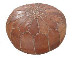 Marockansk Läder Sittpuff Natur - EtnoDesign.se - Patchwork Mattor, Sittpuffar, Fotpallar & Annat Handgjort