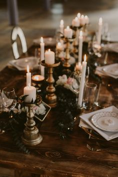 gold and candle lit modern table decor