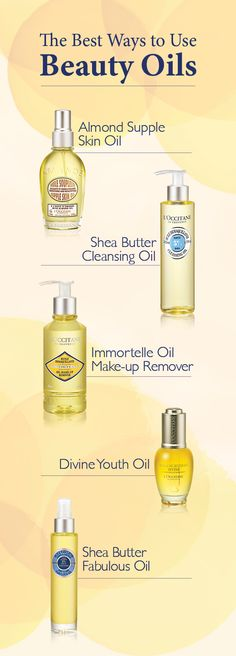 Do you know how to best use beauty oils? Follow L'OCCITANE's tips on how to integrate oils into your beauty routine.  Use Almond Supple Skin Oil after showering to nourish and delicately fragrance skin. Use Shea Butter Cleansing Oil to cleanse the face, leaving skin hydrated. Use Immortelle Oil Make-up Remover to remove makeup, leaving skin soft. Use Divine Youth Oil on the face for a youthful glow. Use Shea Butter Fabulous Oil on body and hair for lasting moisture and a subtle shine.
