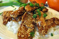 """Vegan """"Orange Chicken""""!!! Made w seitan (TVP type of chewyness), feied, and smothered in a sweet/sour orange sesame glaze, as good as any chinese restaurant!"""