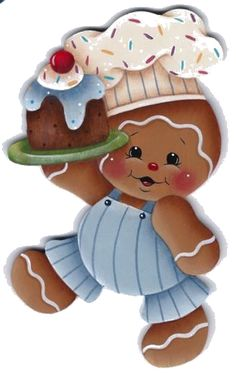quenalbertini: HP Gingerbread Boy Chef with Cake - Fridge Magnet Gingerbread Ornaments, Gingerbread Decorations, Christmas Gingerbread, Christmas Art, Christmas Decorations, Christmas Ornaments, Christmas Patterns, Decoupage, Illustration Noel