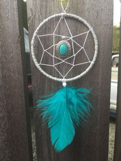 Small Dream Catcher Turquoise Feather by BohoDreamCapture on Etsy