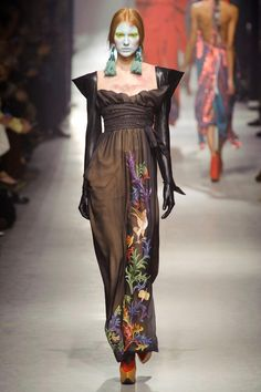 10. Vivienne Westwood F/W 2013-14. High waisted dress with squared neckline and gloves is similar to one,worn in time of Empire.