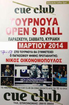 9 Ball Tournament - TΟΥΡΝΟΥΑ 9μπαλου Αμερικάνικου Μπίλιάρδου   7-9/3/2014 http://www.kerkyra.net/events/index.asp?PageId=44&ArticleID=719