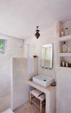 Rustic, Marroccan-inspired bathroom. Interior designer/ architect  Muriel Bardinet's home in Ixelles, Brussels, Belgium, from Elle Decoration UK.
