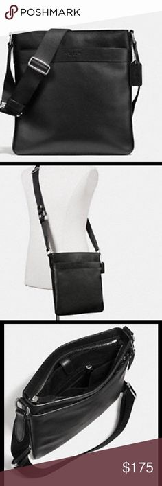 "COACH Charles Crossbody in Smooth Leather CHARLES FLIGHT BAG IN SMOOTH LEATHER COLOR: BLACK Leather Inside multifunction pocket Zip-top closure, fabric lining Outside slip pocket Adjustable strap with 29 1/2"" drop for shoulder or crossbody wear 9"" (L) x 10 1/2"" (H) x 3 1/4"" (W) Coach Bags"