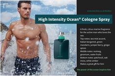 MK High Intensity Ocean®️ Cologne Spray    A fresh, citrus-marine fragrance for the active man who loves the sea.  Top notes: sea mist accord, Italian bergamot, green mandarin, juniper berry, ginger spices  Middle notes: nutmeg, geranium, water fruits  Bottom notes: patchouli, oak moss, white amber  Makes a great gift for him. Gifts For Him, Great Gifts, Imagenes Mary Kay, Juniper Berry, Cologne Spray, Bergamot, Geraniums, Mists, Beauty Products