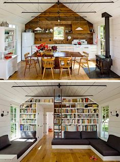 Love this amazing little eco-friendly house! Little Green House: A Whole Family in 540 Square Feet — Jessica Helgerson Interior Design Tiny House Living, Small Living, Home And Living, Living Room, Tiny House Family, Little Green House, Little Houses, Small Houses, Small Cabins