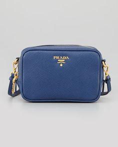 c4a96999c28 Prada Saffiano Mini Zip Crossbody Bag, Blue (Bluette)