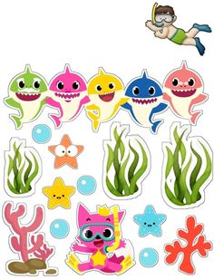 6 Family Sharks Character SVG layered and images .eps files, Silhouettes Complete Sea Clipart handcrafted in scalable format Shark Birthday Cakes, Baby Boy 1st Birthday, 3rd Baby, 2nd Birthday Parties, Baby Hai, Baby Shark Doo Doo, Shark Family, Shark Party, Crafts