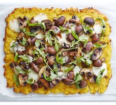 This pretty vegetarian main is made from quick-cook cheesy polenta topped with mushrooms, mozzarella, rocket and balsamic vinegar