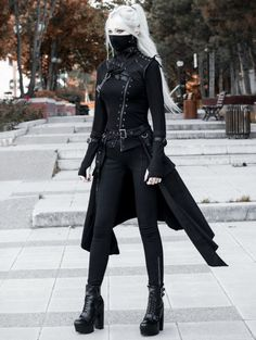 Black Gothic Punk Mask Outfit Set for Women Black Gothic Punk Mask Outfit Set for WomenYou can find Outfit sets and more on our website. Edgy Outfits, Anime Outfits, Mode Outfits, Fashion Outfits, Black Outfits, Cute Punk Outfits, Goth Girl Outfits, Cyberpunk Fashion, Fantasy Dress