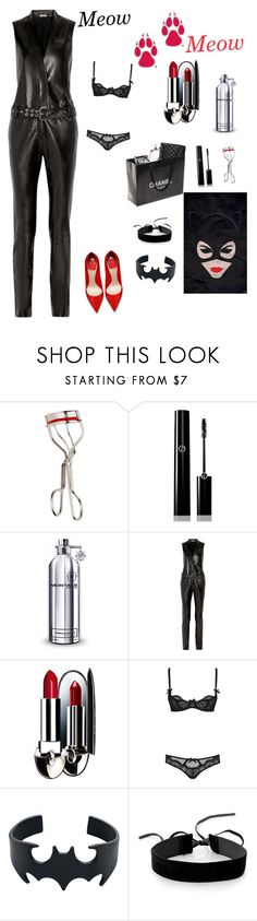 """""""Catwoman 🐾"""" by ianasvetetskaya ❤ liked on Polyvore featuring Kevyn Aucoin, Giorgio Armani, Montale, Thierry Mugler, Chanel, Guerlain, L'Agent By Agent Provocateur and Simons"""