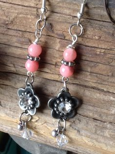 $14  Antique Silver Flower and Rose Quartz Earrings/Come to my shop... A  personal favorite from my Etsy shop https://www.etsy.com/listing/268753042/antique-silver-flower-and-rose-quartz