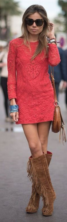 Love the boots!  32 Gorgeous Little Red Dress Styles #LRD - Style Estate -
