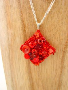 Very Berry Pendant  Red Upcycled Pendant  Mixed Media by Pookledo, £10.00