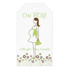 OH BOY! Green Silhouette Baby Sprinkle Pack Of Gift Tags