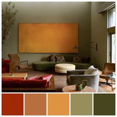 Harold English House features hues drawn from the 'Forest… Kay Kollar Design. Warm Color Schemes, Living Room Color Schemes, Living Room Colors, Interior Design Color Schemes, Green Interior Design, Interior Design Living Room Warm, Living Room Orange, Green Colour Palette, Deco Originale
