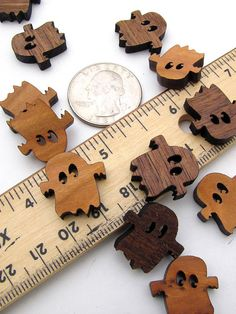 Itsies - Boo Ghost Halloween Charms - Laser Cut Mini Ghosts  - Free Shipping . Timber Green Woods Sustainable Forestry Products.