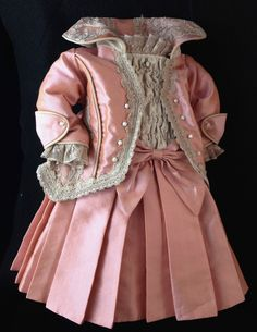 "Antique Reproduction Silk Doll Dress 12"" in 