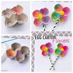 Colorful Egg Carton Flowers for preschool spring craft Spring Projects, Spring Crafts, Craft Projects, Preschool Crafts, Easter Crafts, Crafts For Kids, Crafts To Do, Arts And Crafts, Egg Carton Crafts