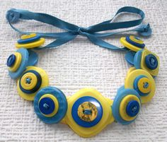 Sunshine Yellow and Sky Blue Vintage Button & Ribbon Choker Necklace £10.00