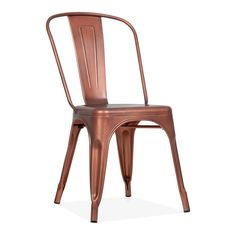 Xavier Pauchard Tolix Style Metal Side Chair - Antique Copper