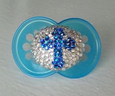 Blue Swarovski CROSS Mam  PACIFIER Elements by tropical5 on Etsy, $25.00