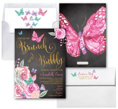 Butterfly Brunch and Bubbly Invitation / Butterflies // Bridal Shower invitation // Butterfly // Floral // Watercolor // VICTORIA COLLECTION by MerrimentPress on Etsy https://www.etsy.com/listing/495776689/butterfly-brunch-and-bubbly-invitation