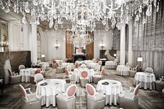 The dining room at the Plaza Athenee hotel in Paris
