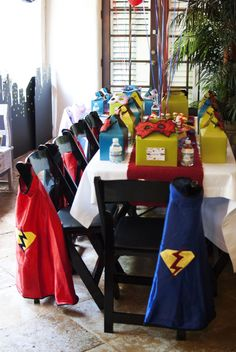 Super Hero Party #superherocapes #superheroes #superheroparty - SUPER CUTE IDEA FOR THE FUTURE!!