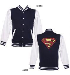 Unisex Distressed Superman Logo Varsity Jacket