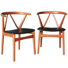 Teak chairs by Bruno Hansen for Henning Kjaernulf.