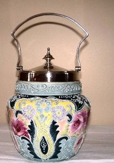 Antique Hand Painted Nippon Moriage Biscuit Jar | eBay