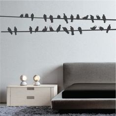 Attraktiv Bird Wires Wall Decal And A Bedroom