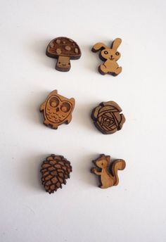 Squirrels, please! Woodland Earrings owl bunny squirrel pine cone by Vectorcloud, $16.00
