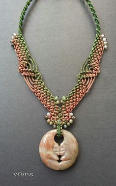 Moon ~moss agate~ pendatn in brown and green macrame necklace