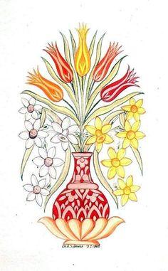 Süheyl Ünver Pen And Watercolor, Watercolor Paintings, Original Paintings, Types Of Embroidery, Machine Embroidery Designs, Flower Vases, Flower Pots, Indian Flowers, Turkish Art