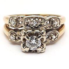 Vintage Engagement Ring Bridal Set Genuine Diamond Solid 14K Gold - EraGem  love the vintage design