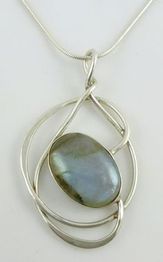 Oval Labradorite Cabochon Sterling Silver Pendant Link Chain Necklace