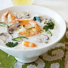 """Thai Coconut Soup from CoastalLiving.com """"Time-saving Tip: Peel and slice the ginger beforehand—it will keep in the fridge for up to one week. Peeled ginger will last 2-3 months if stored in a sealed jar, covered with dry sherry, and refrigerated."""""""