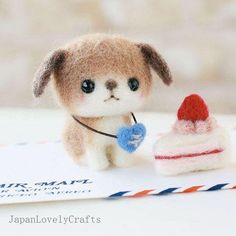 Japanese Needle Wool Felt Mascot DIY Kit - Post Dog & Strawberry Short Cake -  Yoko Ohko - Kawaii Hamanaka - F37