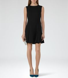 Abey  Black Pleat-Hem Shift Dress - REISS
